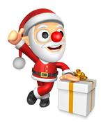 3D Santa Mascot the left hand best gesture and right hand is holding a  Big.. Stock Illustration