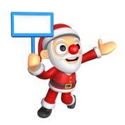 3D Santa mascot the left hand guides and the right hand is holding a picket.. Stock Illustration
