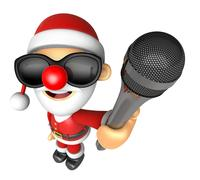 Wear sunglasses 3D Santa character point a microphone. 3D Christmas Charact.. Piirros