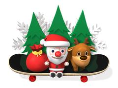 3d santa's exciting winter sports Stock Illustration