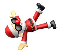 Wear sunglasses 3D Santa mascot playing breakdance. 3D Christmas Character .. Stock Illustration