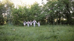 Midsummer. People were running in Slavic clothes Stock Footage