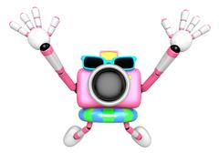 Pink Camera character on dynamic jump. Create 3D Camera Robot Series. Stock Illustration