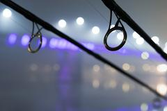 Carp rods in foggy night. Urban Edition. Night Fishing Stock Photos
