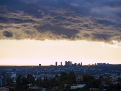 Santa Monica City in Los Angeles timelapse with clouds passing quickly Stock Footage