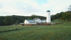 FARM SURISE  - WHITE BARN STATIC SHOT - MIDWEST Stock Footage