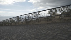 Cloudy weather italian city sea rocks slow motion gimbal landscape aerial shot Stock Footage