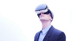 Businessman using VR-headset - 4 K Stock Footage