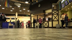 Entrance hall with cloakroom and a reception in the mall Stock Footage