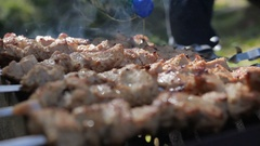 Barbecue With Delicious Grilled Meat On Grill pour marinade Stock Footage