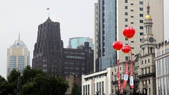 Chinese new year lanterns lamps waving on Nanjing Road in Shanghai, China Stock Footage