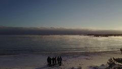 Aerial View: Boiling water in severe frost in Ladoga Lake, Karelia, Russia Stock Footage