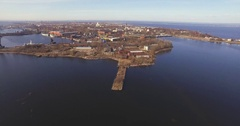 The island of Kronstadt Russian spring water Stock Footage