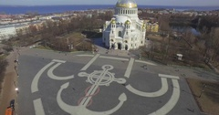 Aerial view. The architecture of Naval cathedral of Saint Nicholas in Kronstadt Stock Footage