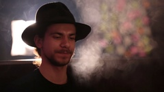 Man smokes shisha closeup Stock Footage