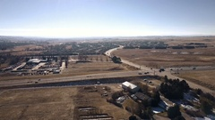 Aerial view of rural suburbia in snowless Winter. Stock Footage