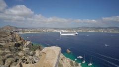 Cabo San Lucas bay with a cruise ship - Mexico Stock Footage