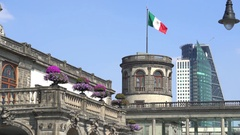 Chapultepec castle tower with Mexican flag - Mexico City, Mexico Stock Footage