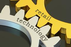 Retail technology concept on the gearwheels, 3D rendering Stock Illustration