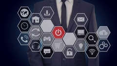 Businessman presses a button on the touch screen, turn the media. honeycomb Stock Footage
