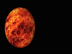 3D red rotating glow planet. Stock Footage