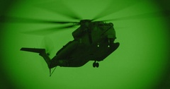 Night vision footage of a CH-53 stallion helicopter  Stock Footage