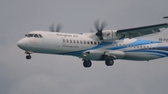 Turboprop aircraft approaching Stock Footage