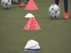 Kids indoor training football practice Stock Footage