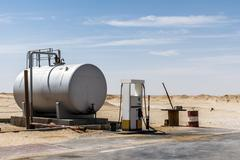 Old Gas Station Desert Rub al Khali Oman Dhofar Region Stock Photos