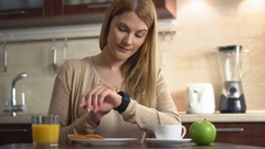 Beautiful young woman making various gestures with her finger on a touch screen Stock Footage