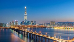 Time lapse of Seoul City and Lotte Tower ,South Korea. Stock Footage