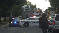 Police closed a street after house explosion in Mississauga Stock Footage