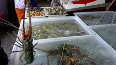 Fresh market Seafood in Thailand Stock Footage