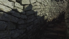 POV narrow climb of ruins path 4k Stock Footage