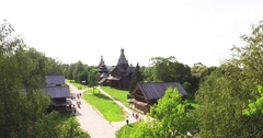 Reconstruction of the old Russian village old houses Stock Footage