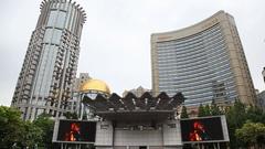 Big screen electronic tv displays on Nanjing Road in Shanghai, China Stock Footage