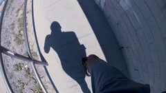 POV of a young man running on a steep ramp, slow motion. Stock Footage
