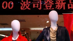 Mannequins in the windows display at sale event in Beijing, China Stock Footage
