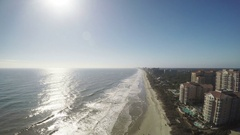 Aerial Myrtle Beach Hotel Resorts Atlantic Ocean Blue Skies Sun, 4K Stock Footage