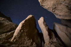 5K MoCo Astro Timelapse of Stars thru Canyon Formation in Mojave Desert  Stock Footage