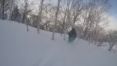 POV of a young man skier skiing on a snow covered mountain, slow motion. Stock Footage