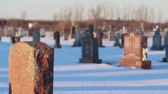 Grave stones with focus racked for depth of field Stock Footage