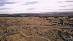 Aerial view of suburban open space park in snowless Winter. Stock Footage