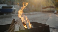 Flames in the grill outdoors Stock Footage