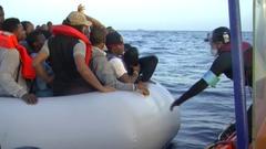 Mediterranean sea migrants crisis rescue Stock Footage