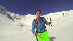 POV of a young man cross-country skiing with friends. Stock Footage