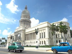 Panoramic view on road near the building Capitol in Havana at summer sunn Stock Footage