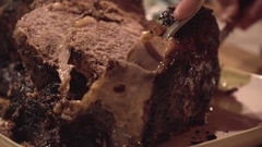 Carving Prime Rib Close Up Stock Footage