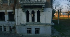 Aerial View Of Chechnya Grozny, House destroyed by war Stock Footage