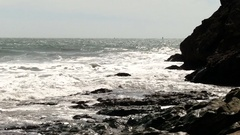 Windy Day Ocean Waves On Rocky Shore Marin California Stock Footage